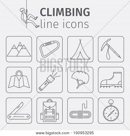 Rock-climbing equipment, climbing, rock climbing, mountaineering, travel, hiking sports equipment Thin line icon set Vector illustration