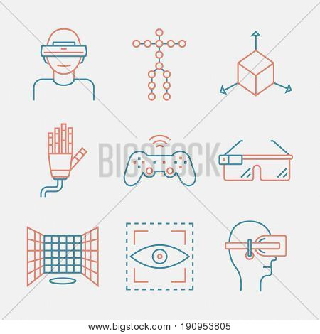 Devices for virtual reality. Immersive multimedia or computer-simulated reality. Glasses and head-mounted display. Linear icons set. Augmented reality.Virtual reality line icon.