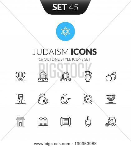Outline black icons set in thin modern design style, flat line stroke vector symbols - Judaism collection
