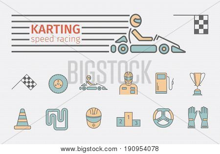 Karting flat icon set. Speed racing conceptual banner. Vector illustration.