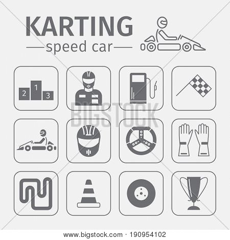 Kart racing, karting, motorsport, driver equipment. Thin line icon set Vector illustration