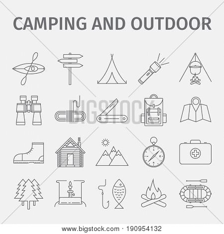 Outdoor recreation. Adventure recreation. Tourism. Thin line icon set. Vector illustration