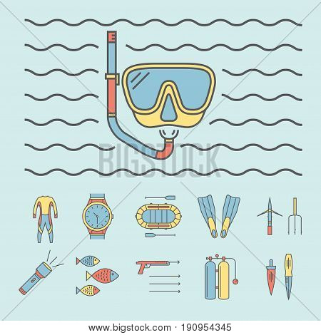 Spearfishing line icon set isolated on white background. Diving icons.