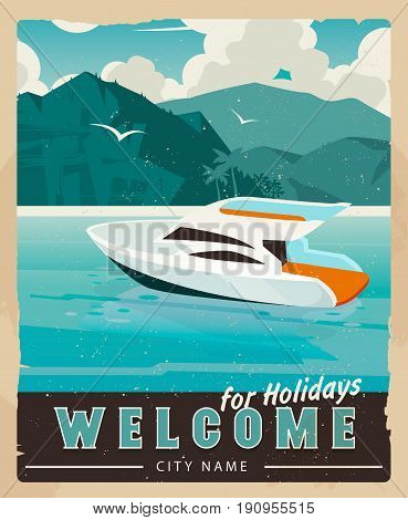 Beautiful paradise cove with palm trees, ridge mountains, sea with boat.Travel poster water transport rent, template.