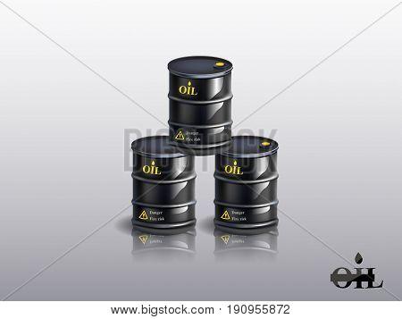 Vector realistic black metal oil barrel , vector illustration.