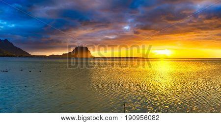 Amazing view of Le Morne Brabant at sunset. Mauritius island. Panorama