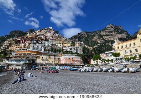 Rocky beach at the base of the hills in Positano Italy.