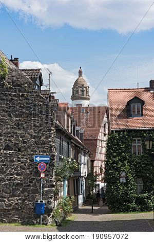 historic old town Frankfurt-Hoechst with castle and half-timbered houses