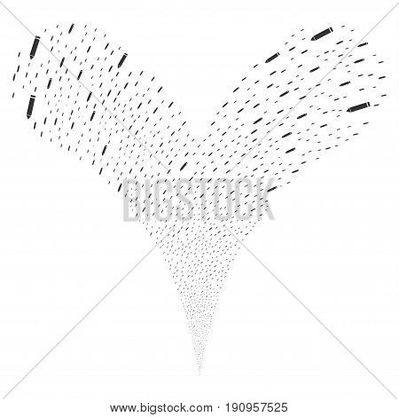 Edit Pencil explosive stream. Vector illustration style is flat gray iconic edit pencil symbols on a white background. Object fountain constructed from random pictographs.