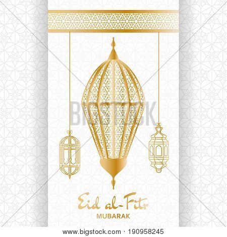 Eid al-Fitr Background. Islamic Arabic lantern. Greeting card. Vector illustration.