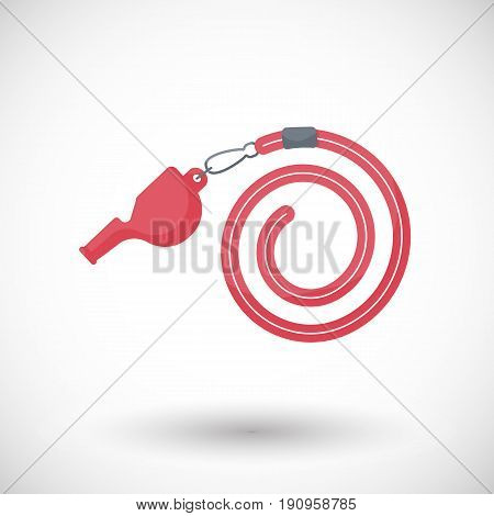 Whistle vector flat icon Flat design of sport or lifeguard equipment with round shadow vector illustration