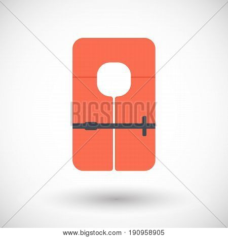 Life jacket flat vector icon Flat design of swimming safety with round shadow vector illustration