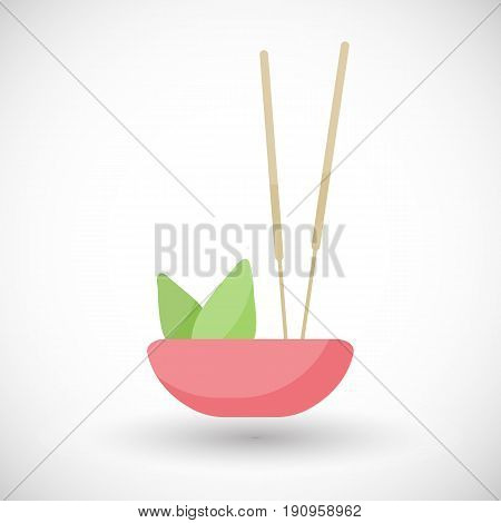 Incense burning vector flat icon Flat design of aromatherapy spa or Buddhism object with round shadow vector illustration