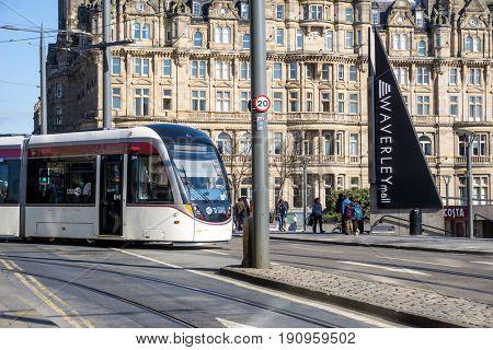 EDINBURGH, SCOTLAND - March 27, 2017: Street view of Historic Old Town Houses in Edinburgh, Scotland