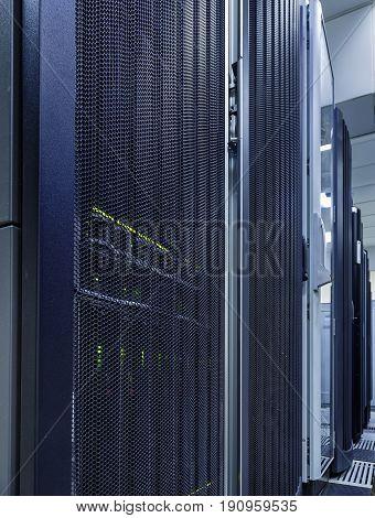 Server Rack With LED Indicator Inside in the mofern data center