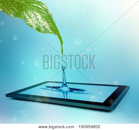 A drop of water drips onto the tablet