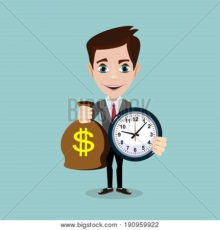 Man holding a money bag and a clock. Stock vector illustration for poster, greeting card, website, ad, business presentation, advertisement design.