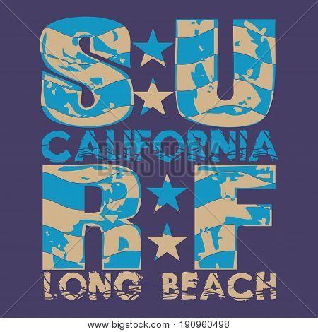 Surfing California T-shirt surfing long beach water sports T-shirt inscription typography graphic design emblem