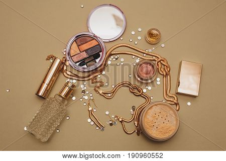 Cosmetics make up artist objects: lipstick eye shadows powder tools for make-up
