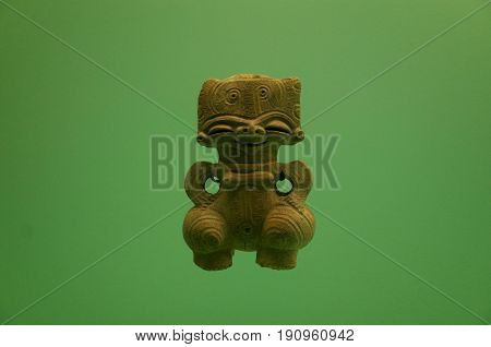 Pre Columbian indigenous pottery figure from Colombia