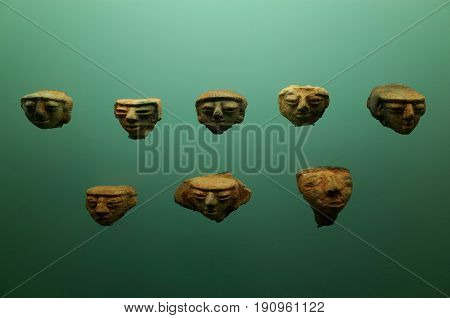 Pre Columbian indigenous pottery heads from Colombia