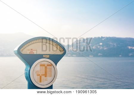 Automatic precision weight scale with lake view in Como Italy
