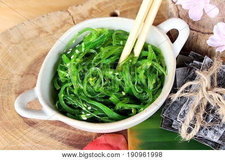 Seaweed wakame salad delicious and dries seaweed