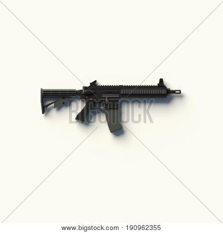 3D RENDERING OF MACHINE GUN ON WHITE PLAIN BACKGROUND