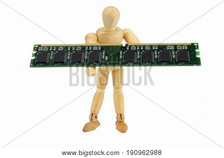 Wooden puppet carries a computer memory module isolated on a white background