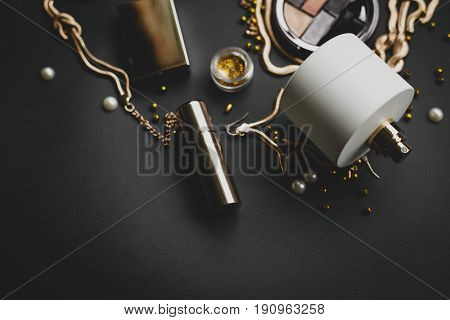 Cosmetics make up artist objects: lipstick eye shadows eyeliner concealer powder tools for make-up