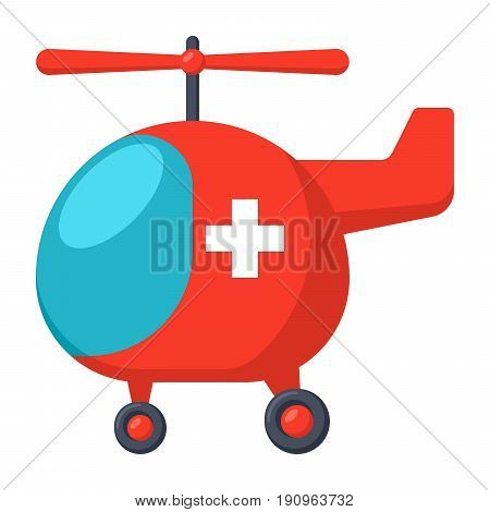 Air ambulance concept with helicopter ambulance, vector illustration in flat style