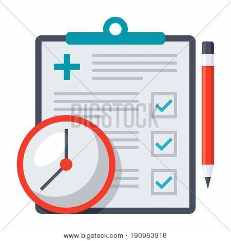 Appointment request concept with document, clock and pencil, vector illustration in flat style
