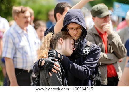 Orel Russia June 12 2017: Russia protests. Young protesters hugging together