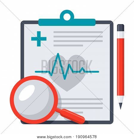 Medical diagnostic concept with medical report, pencil and magnifying glass, vector icon in flat style