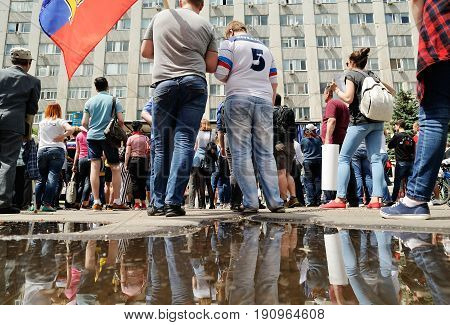 Orel Russia June 12 2017: Russia protests. Protesters and big puddle horizontal