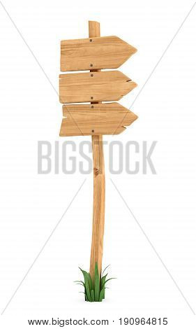 3d rendering of a wooden pole with some grass on it's base and three arrows on the top. Directional signs. Outdoor advertisement. Signposts and arrows.
