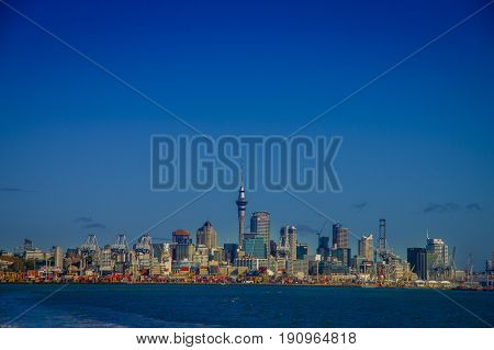 AUCKLAND, NEW ZEALAND- MAY 12, 2017: Beautiful view of the largest and most populous urban area in the country, with a panoramic view in a sunny beautiful day in the horizon.