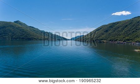 Aerial landscape of Lugano Lake near Morcote