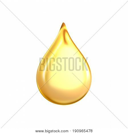 3d rendering of a large yellow bright and clean oil drop isolated on white background. Oil and gas industry. Petroleum prices. Best refill stations.