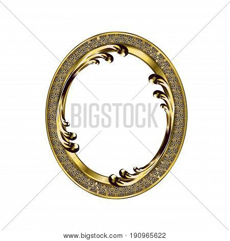 Decorative frame of a round form of golden color with finishing on an internal circle the vector image