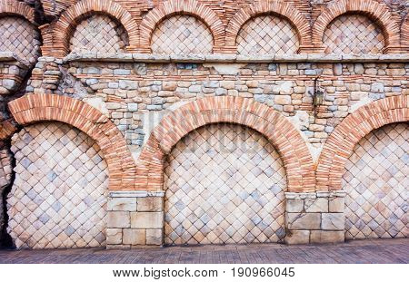 Ruined Broken Medival brick wall for texture background