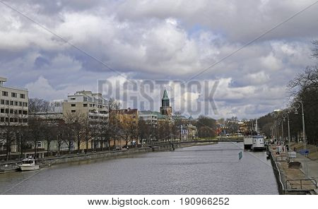 River Aura In Center Of Finnish City Turku, Finland