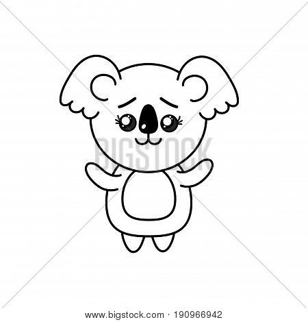 line cute koala wild animal with face expression vector illustration