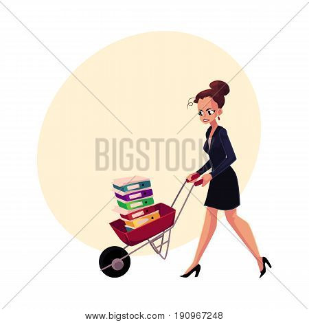 Sad, frustrated woman, girl, businesswoman pushing wheelbarrow with document folders, cartoon vector illustration with space for text. Woman, girl pushing wheelbarrow with document folders