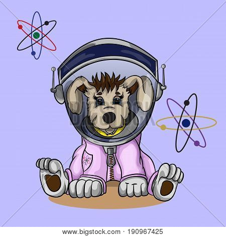 Vector illustration of puppy in cosmonaut costume
