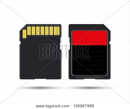 SD card realistic vector illustration of memory card isolated on white background