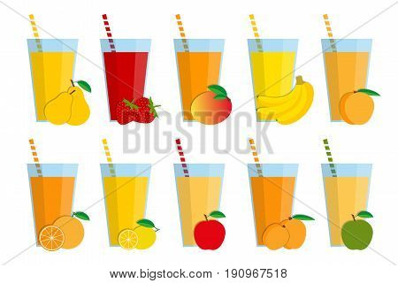 Set of fresh fruit juices and cocktails fruit smoothie collection isolated on white background pear strawberry mango banana peach orange lemon red apple apricot green apple