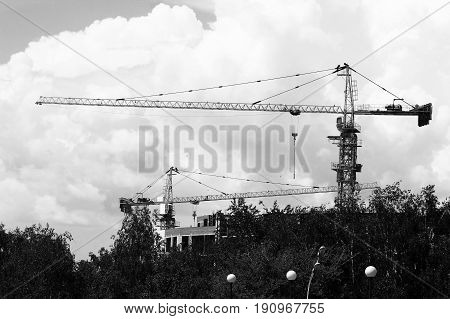 the construction crane and the building against the sky