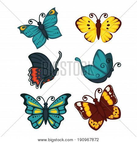 Colorful butterfly collection of six isolated on white. Vector poster in flat design of flying small animals with amazing wings and curved lines in various positions. Beauty of nature template