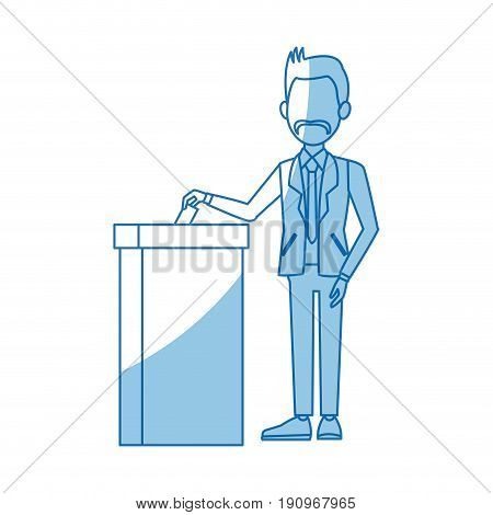 man in a suit putting paper in the ballot box voting concept vector illustration